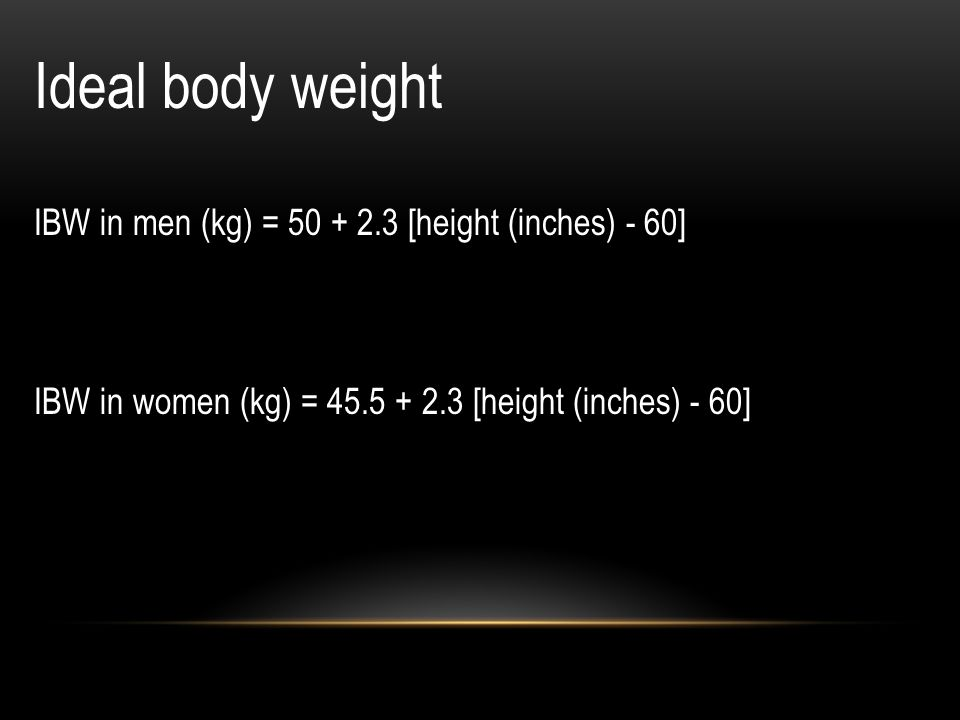 Ideal body weight IBW in men (kg) = 50 + 2.3 [height (inches) - 60]